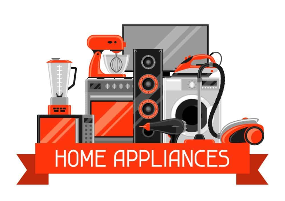 Background with home appliances. Household items for sale and shopping advertising poster.