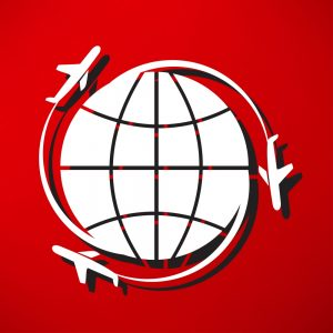 globe icon with planes concept of getting goods globally