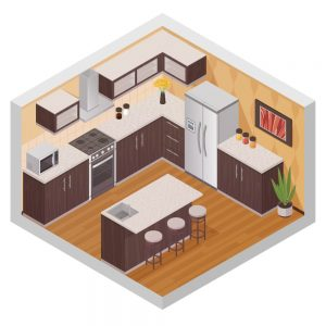 Kitchen modern interior design composition in isometric style with household equipment appliances and utensil flat vector illustration