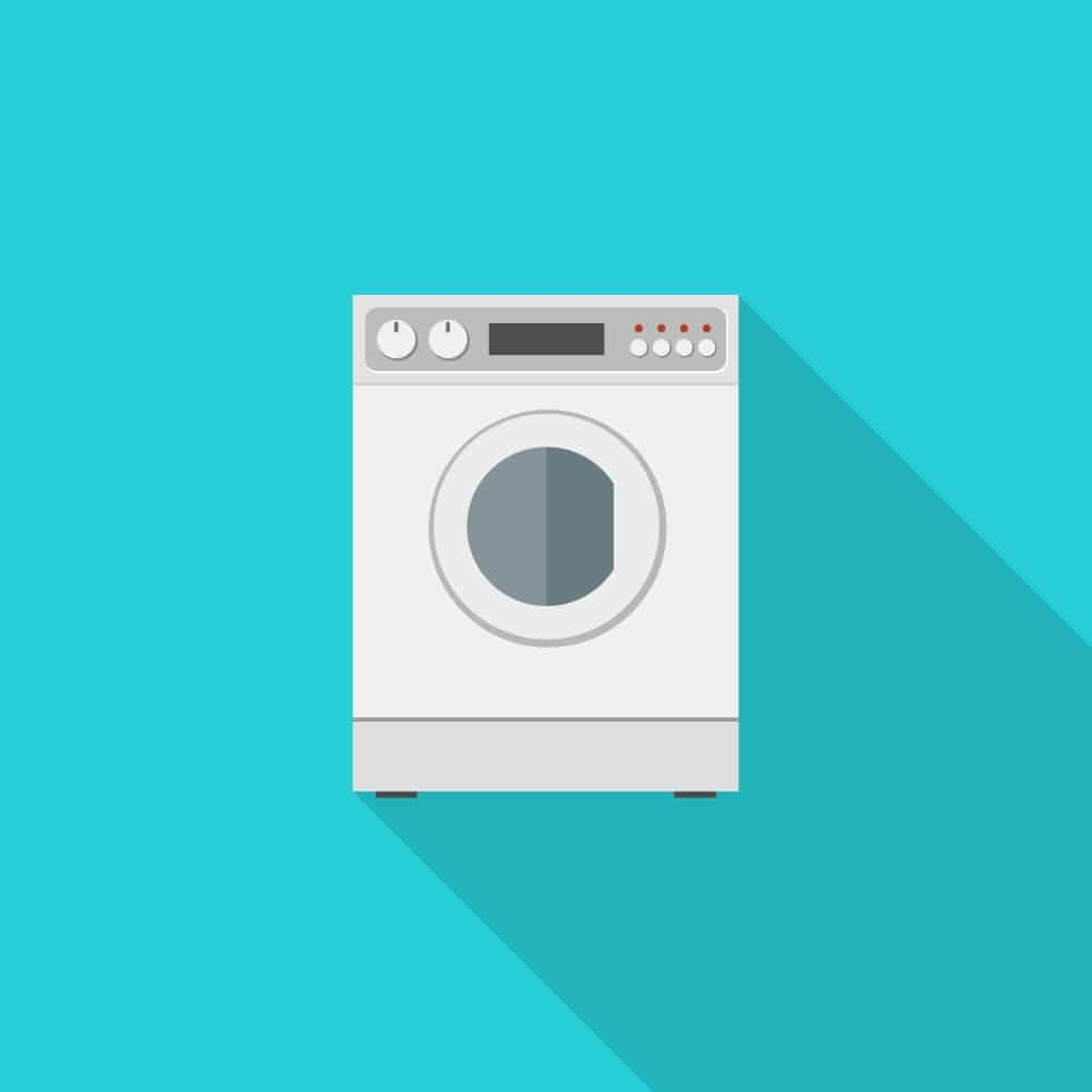 Washing machine in flat style with long shadow